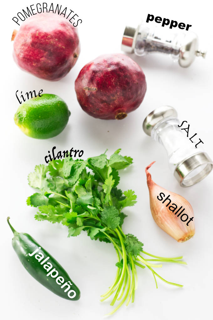 Ingredients for pomegranate salsa