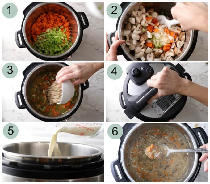 Process photos showing how to make Instant Pot wild rice and mushroom soup.