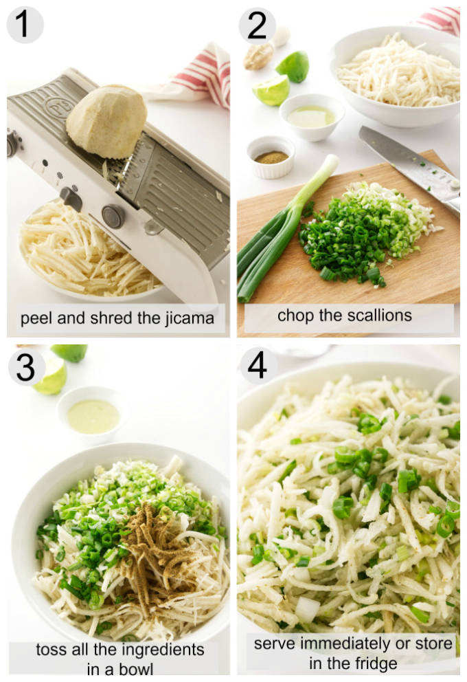 collage of process pictures showing how to make jicama slaw.