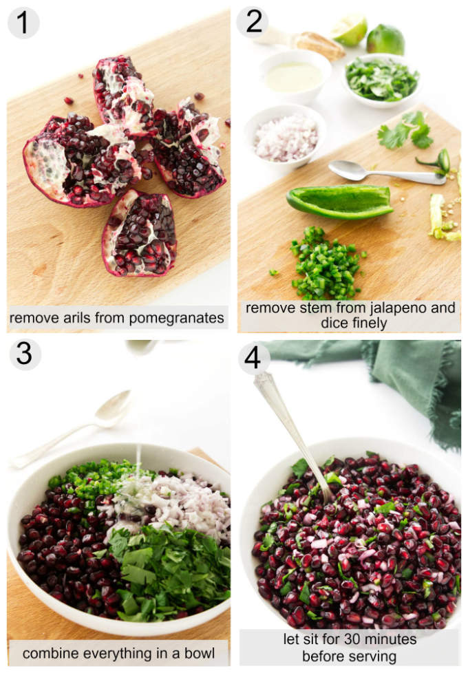 Processing photos of Pomegranate Salsa