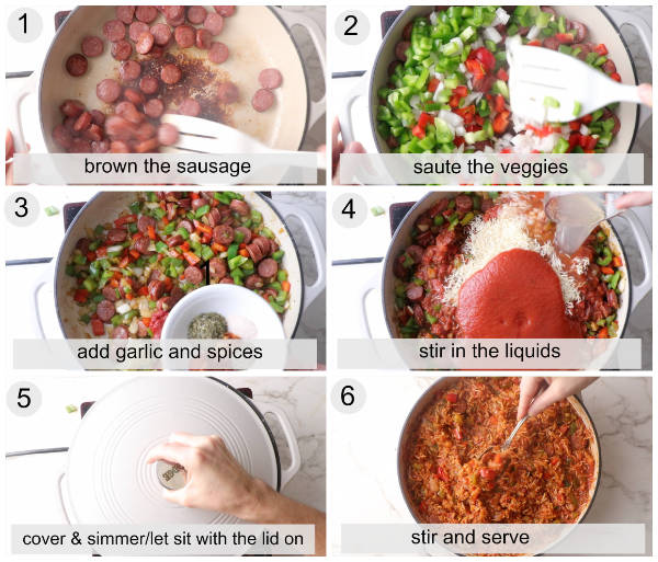 Process photos showing how to make sausage and rice skillet dinner.
