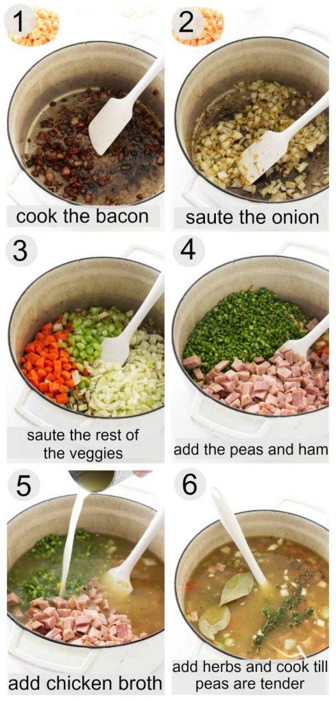 Collage of 6 photos showing the process for making split pea and ham soup.