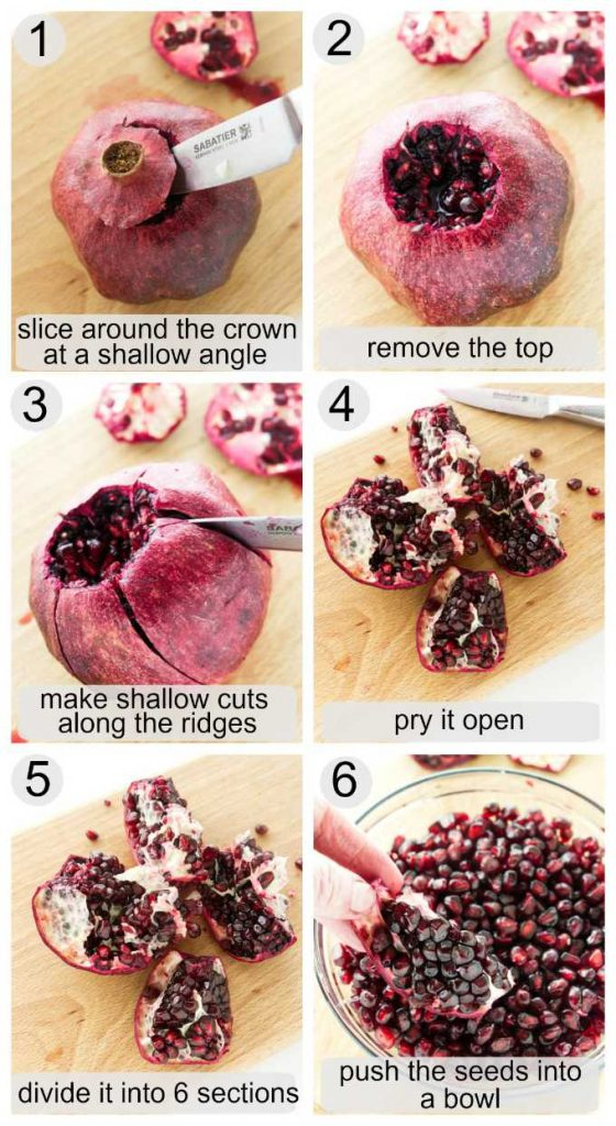 Photos showing how to remove arils from a pomegranate