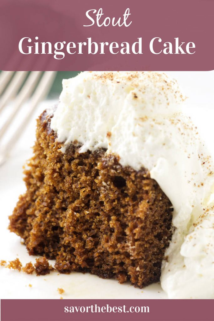 a slice of gingerbread cake with whipped cream