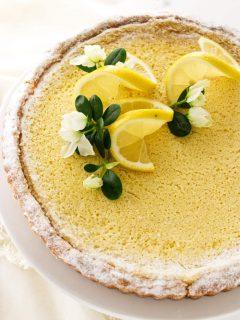 overhead view of lemon tart