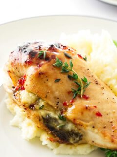 Close up view of a Fig and Brie Chicken Breast