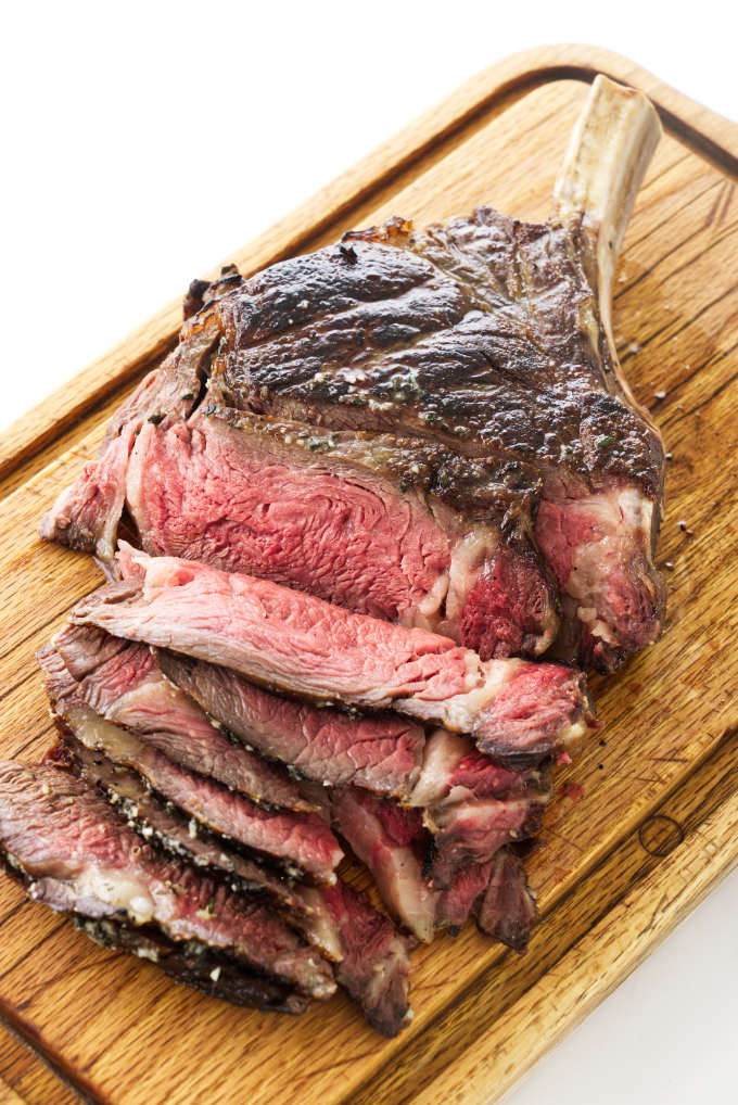 sliced cowboy steak