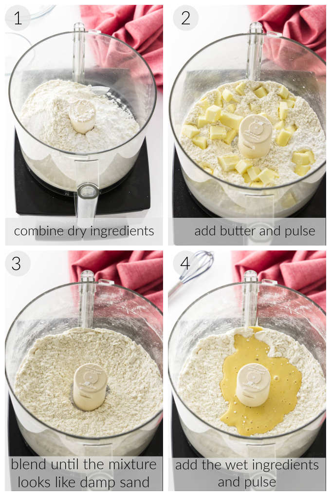 A collage of four photos showing how to make a shortbread pastry crust.