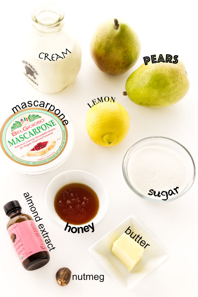 Ingredients needed to make roasted pears with mascarpone cream