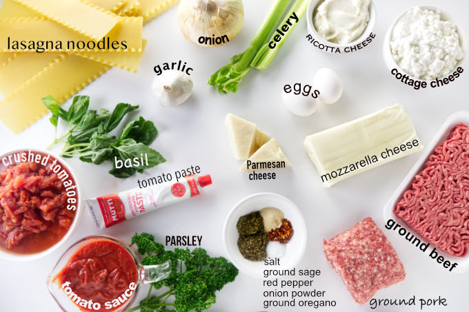 Ingredients needed for sausage and beef lasagna.