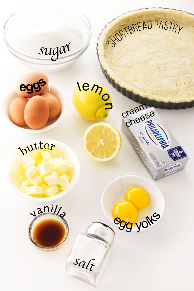 Ingredients needed to make a Creamy Whole Lemon Tart