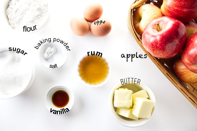 Ingredients needed to make a French apple cake.
