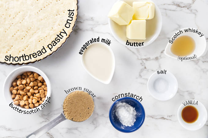 Ingredients needed to make a butterscotch tart.