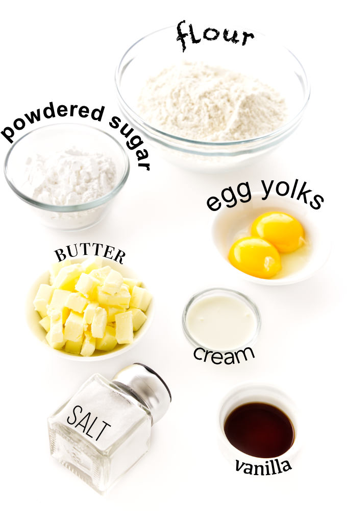 Photo showing the ingredients used to make a shortbread pastry.