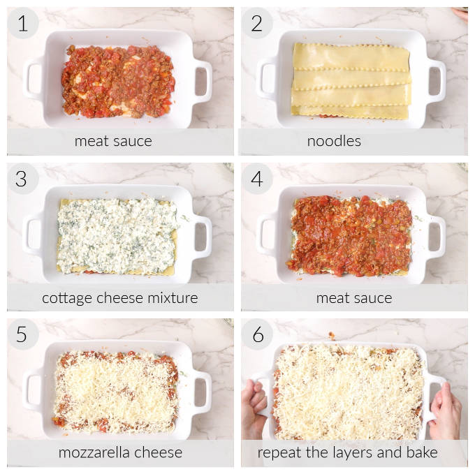 Collage of 6 photos showing how to layer a sausage and beef lasagna.