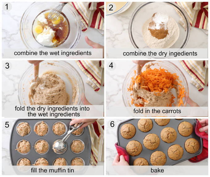 process photos showing how to make whole wheat spelt carrot muffins