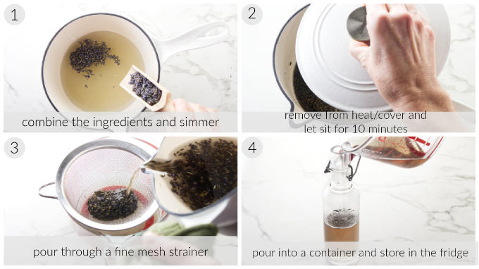 Collage of four photos showing the steps for making lavender syrup.