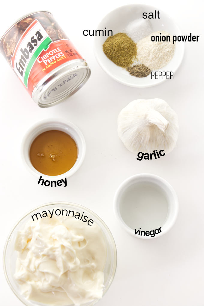 Ingredients used to make chipotle aioli.