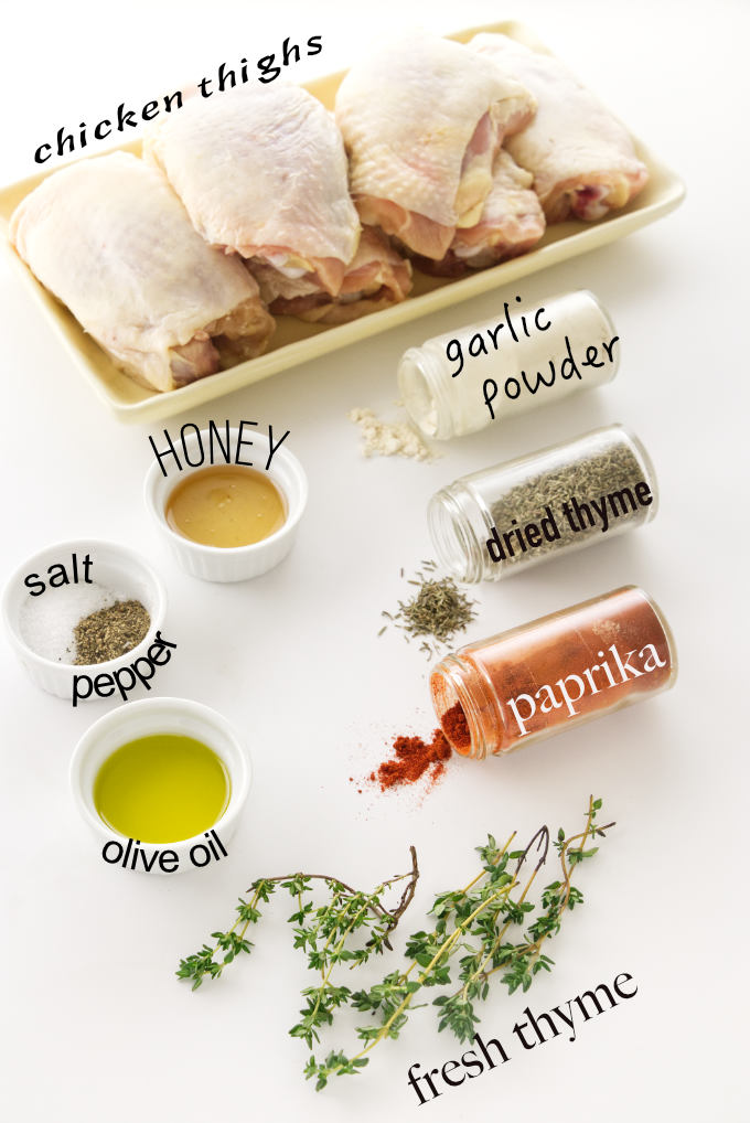 Ingredients for oven roasted chicken thighs