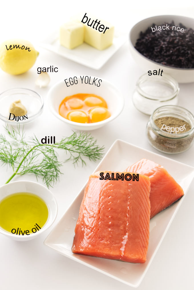 Ingredients for pan-seared salmon with dill hollandaise sauce, including a bowl of black rice