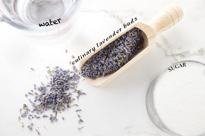 Ingredients used to make lavender syrup.