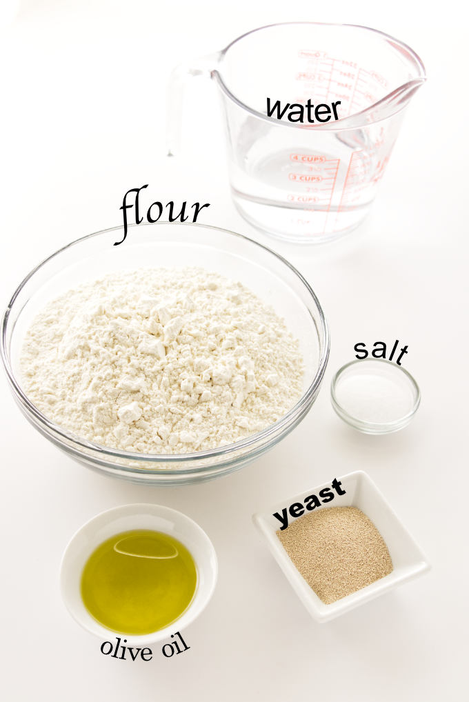 Ingredients for thick focaccia bread