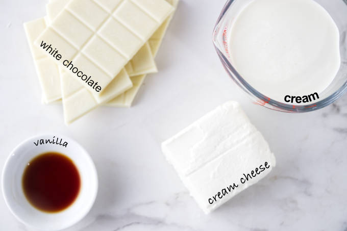 Ingredients needed to make white chocolate mousse for cake.