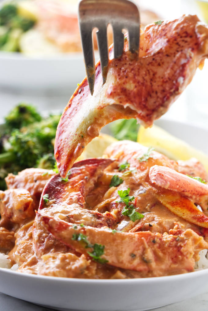 A lobster claw on a fork with tomato cream sauce.