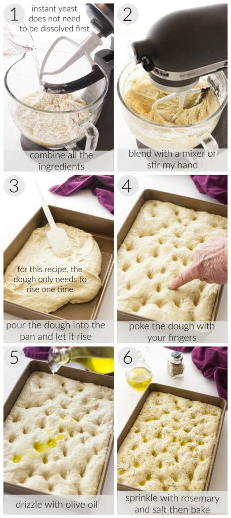 Processing photos of no-kneed focaccia bread