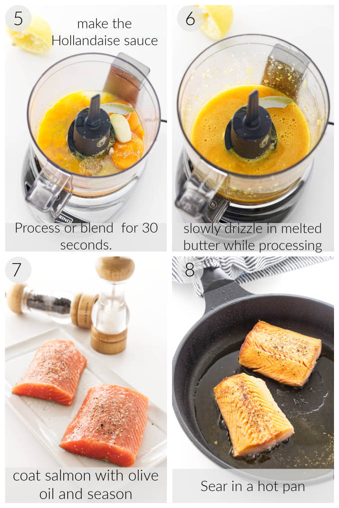 Making dill hollandaise sauce, salmon fillets before/after pan searing