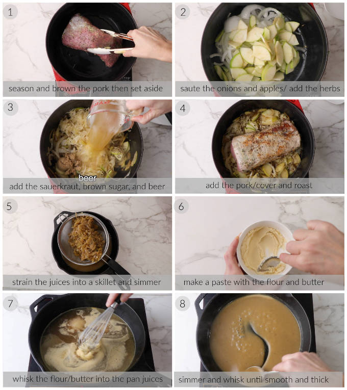 Collage of eight photos showing how to make pork and sauerkraut with pan gravy.