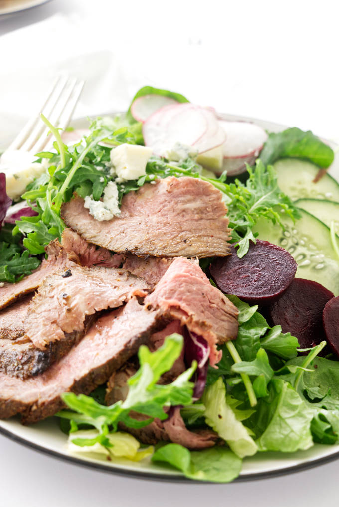 Close up view of grilled Tri-tip salad