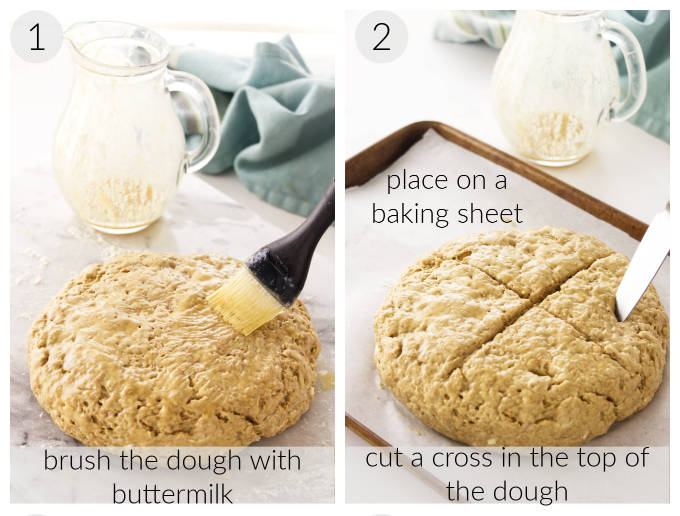 Processing photos of Irish Soda Bread being prepared for baking.