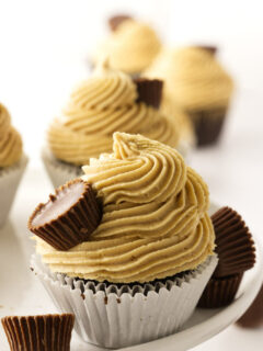 A chocolate cupcake with peanut butter frosting.