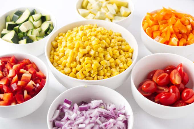 Garden vegetables for the corn succotash recipe.