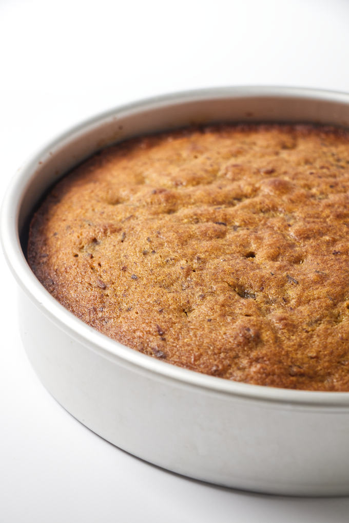 Date cake fresh out of the oven.