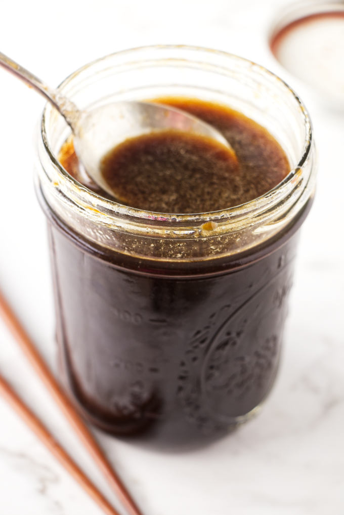 Sauce for fried rice in a jar.