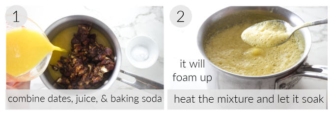 Photos showing how to soak dates in juice and baking soda.
