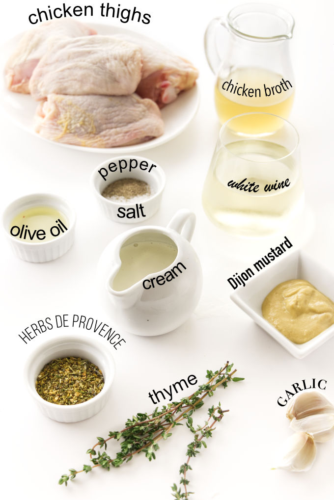 Ingredients for roasted chicken thighs with white wine sauce