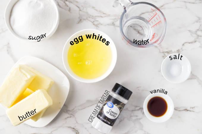 Ingredients needed for Italian meringue buttercream.