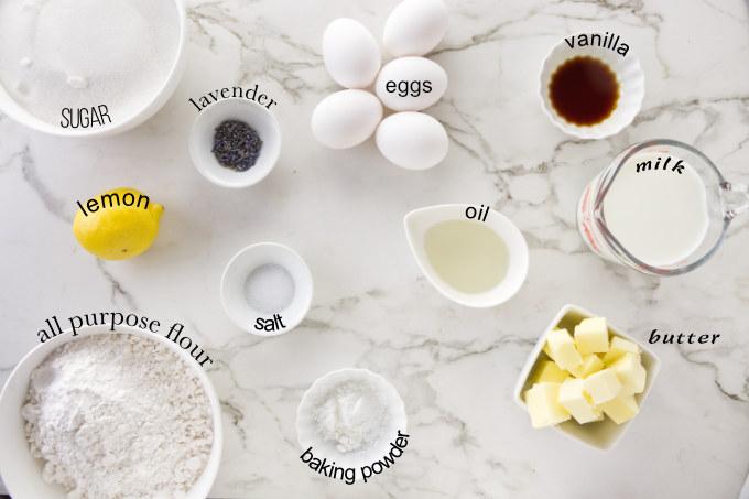Ingredients needed to make the sponge cake for the lemon lavender cake.
