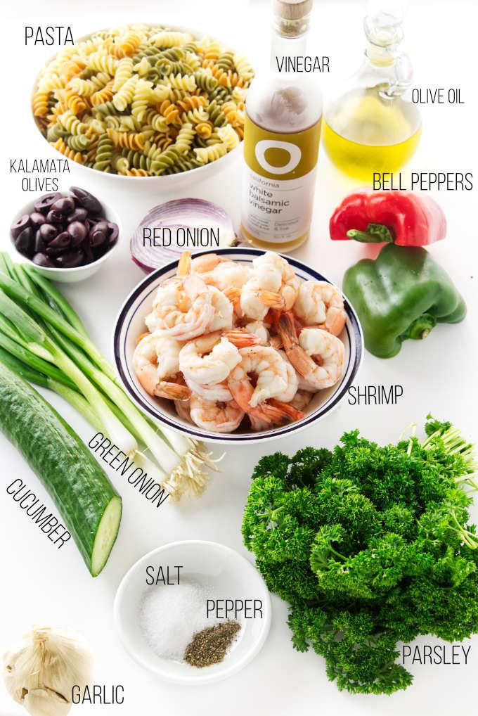 Ingredients for a pasta shrimp salad