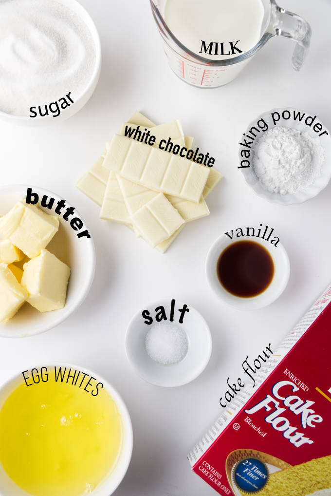 Ingredients used for making a white chocolate cake.