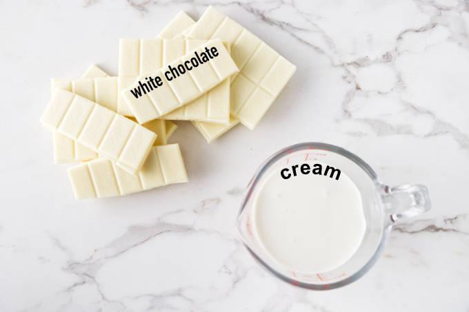 Ingredients needed for white chocolate ganache.