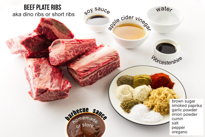 Ingredients used to make beef ribs in the oven.