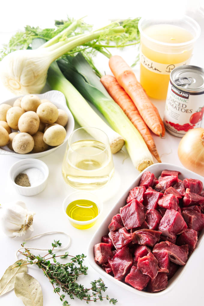 Ingredients for lamb and vegetable soup