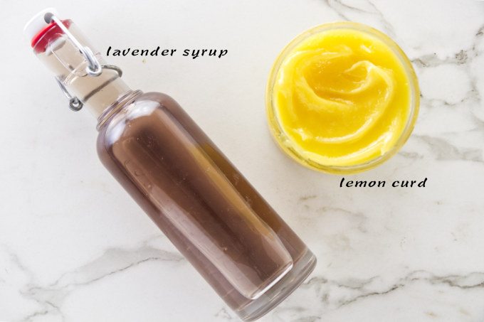 Lemon curd and lavender syrup used in the lemon lavender cake.