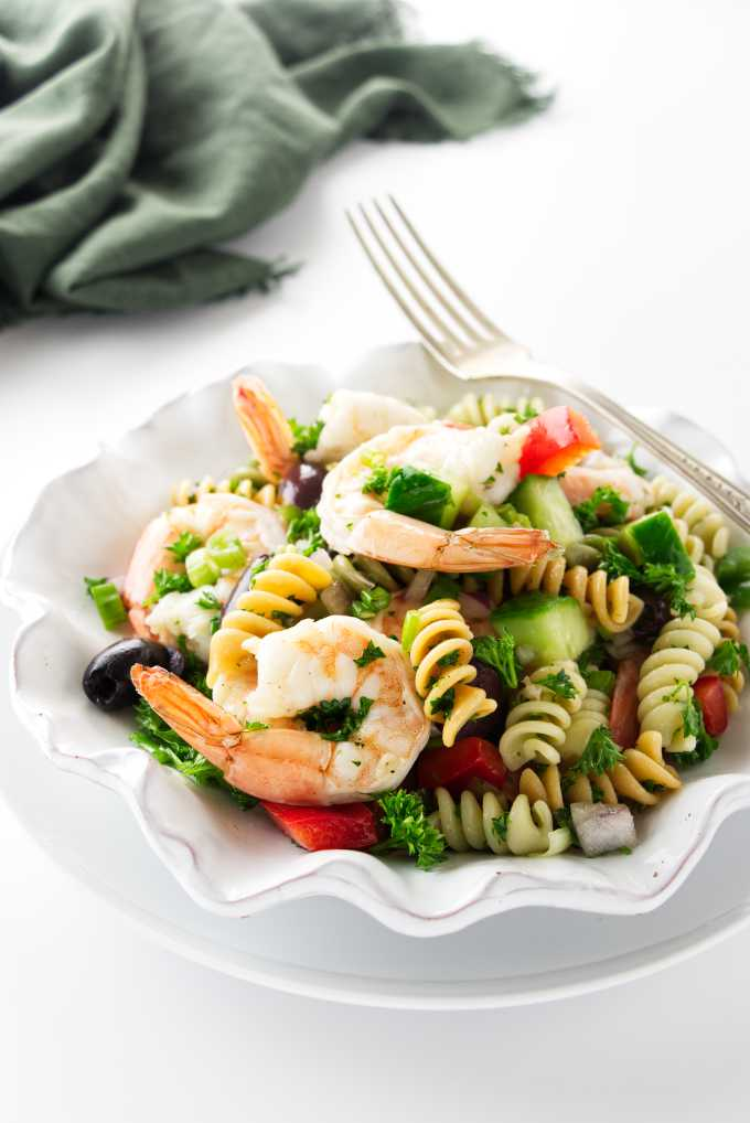 Overhead view of a serving of pasta shrimp salad