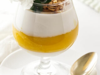 A serving of coconut-mango panna cotta garnished with toasted coconut and a flower