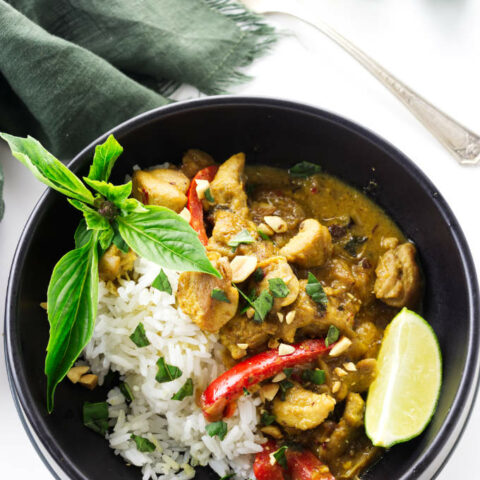 overhead view of a serving of Thai coconut chicken Curry on rice